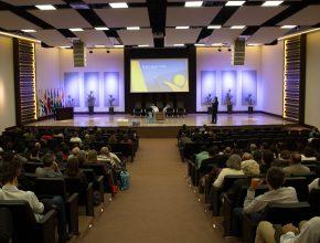 Tesoureiros reunidos no auditório da NT.