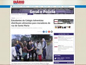 Jornal destacou desprendimento dos estudantes e histórias dos moradores de rua.
