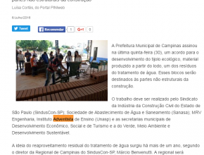 0707 - Prefeitura de Campinas produzirá tijolo a partir do resíduo de tratamento da água