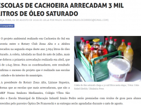 0308 - Escolas de Cachoeira arrecadam 3 mil litros de óleo saturado