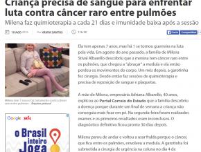 1108 - Criança precisa de sangue para enfrentar luta contra câncer raro entre pulmões