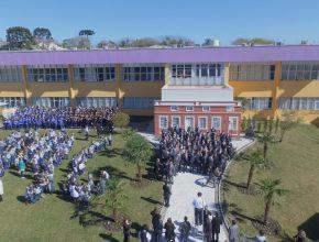 A inauguração teve a participação dos corais da escola, e a presença de líderes da Igreja na América do Sul.