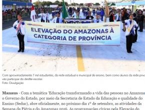 3008 - Em Manaus, programação da Semana da Pátria começa nesta quinta-feira