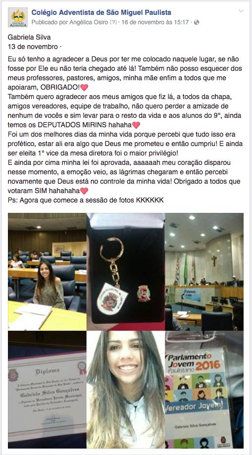 Comentário de Gabriela por meio da Fanpage do Colégio Adventista de São Miguel Paulista [Divulgação Facebook]