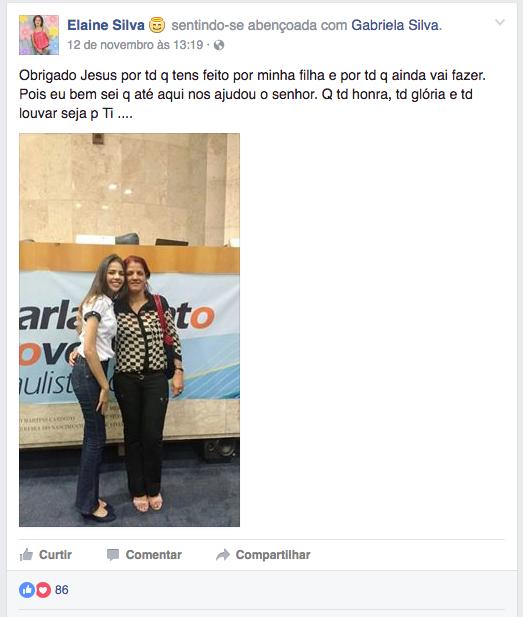 Mãe de Gabriela se manifesta nas redes sociais [Divulgação Facebook]