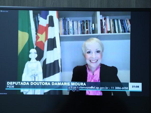 Deputada Damaris Moura foi a organizadora do movimento internacional para discutir o tema. (Foto: Reprodução TV ALESP)