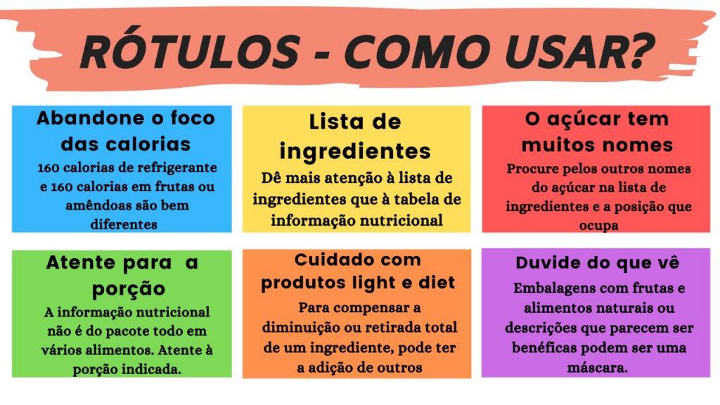 Quadro explicativo sobre os rótulos dos alimentos