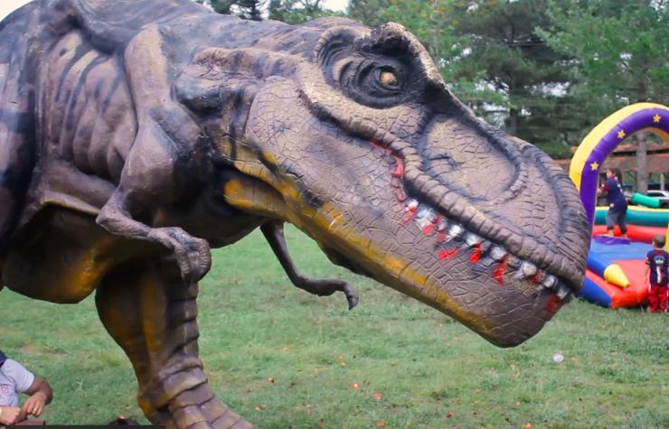 Réplicas de dinossauros chama a atenção de crianças em acampamento