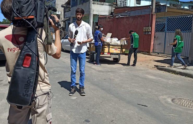 Globo ao vivo em projeto adventista de doação de cestas básicas no ES
